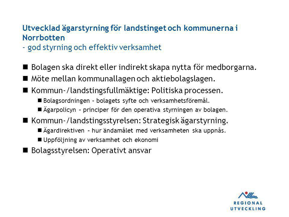 Utvecklad ägarstyrning för landstinget och kommunerna i Norrbotten - god styrning och effektiv verksamhet Bolagen ska direkt eller indirekt skapa nytt