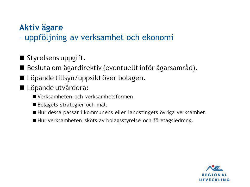 Aktiv ägare – uppföljning av verksamhet och ekonomi Styrelsens uppgift. Besluta om ägardirektiv (eventuellt inför ägarsamråd). Löpande tillsyn/uppsikt