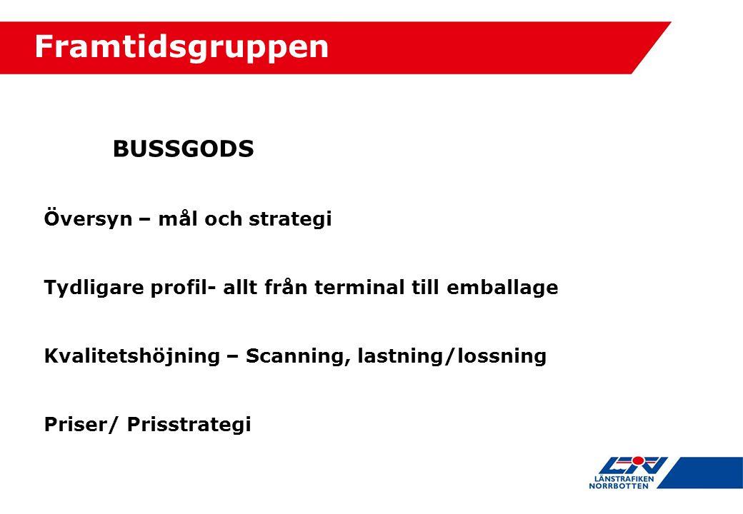 BUSSGODS Översyn – mål och strategi Tydligare profil- allt från terminal till emballage Kvalitetshöjning – Scanning, lastning/lossning Priser/ Prisstrategi Framtidsgruppen