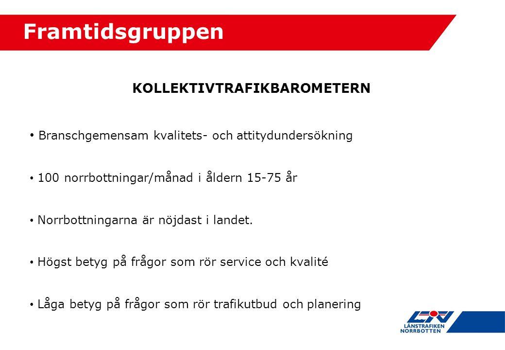 KOLLEKTIVTRAFIKBAROMETERN Branschgemensam kvalitets- och attitydundersökning 100 norrbottningar/månad i åldern 15-75 år Norrbottningarna är nöjdast i landet.