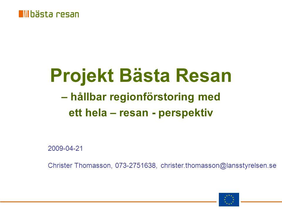 Projekt Bästa Resan – hållbar regionförstoring med ett hela – resan - perspektiv 2009-04-21 Christer Thomasson, 073-2751638, christer.thomasson@lansst
