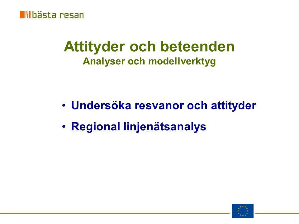 Attityder och beteenden Analyser och modellverktyg Undersöka resvanor och attityder Regional linjenätsanalys