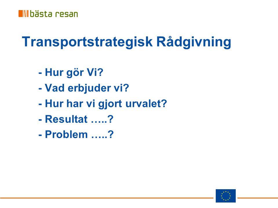 Transportstrategisk Rådgivning - Hur gör Vi? - Vad erbjuder vi? - Hur har vi gjort urvalet? - Resultat …..? - Problem …..?