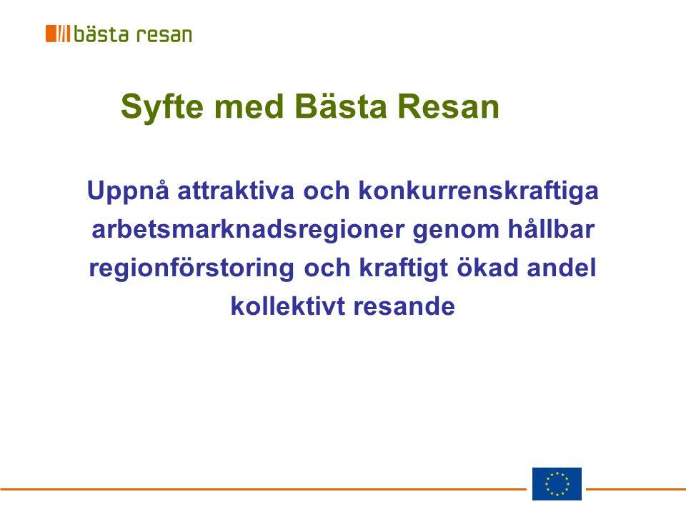 Uppnå attraktiva och konkurrenskraftiga arbetsmarknadsregioner genom hållbar regionförstoring och kraftigt ökad andel kollektivt resande Syfte med Bäs