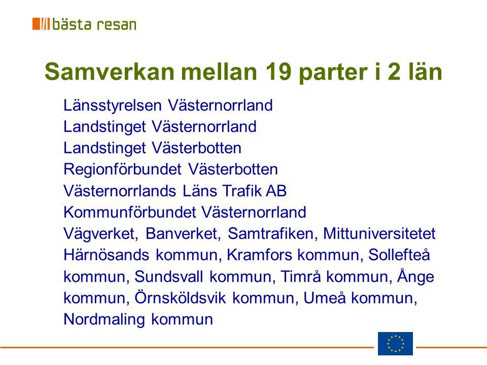 Samverkan mellan 19 parter i 2 län Länsstyrelsen Västernorrland Landstinget Västernorrland Landstinget Västerbotten Regionförbundet Västerbotten Väste