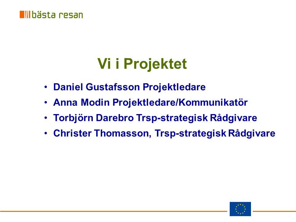 Vi i Projektet Daniel Gustafsson Projektledare Anna Modin Projektledare/Kommunikatör Torbjörn Darebro Trsp-strategisk Rådgivare Christer Thomasson, Tr