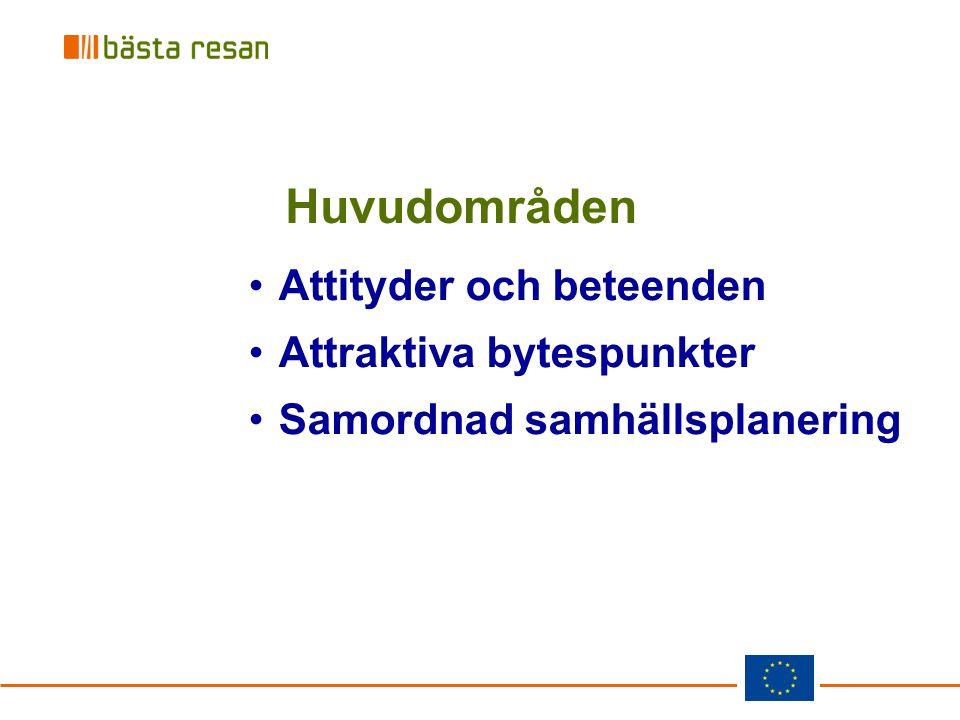 Huvudområden Attityder och beteenden Attraktiva bytespunkter Samordnad samhällsplanering