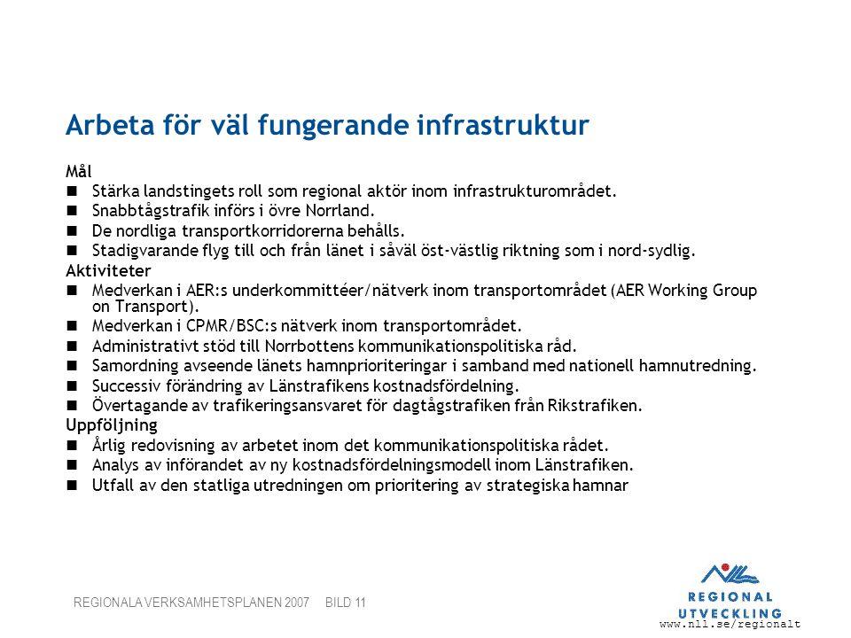 www.nll.se/regionalt REGIONALA VERKSAMHETSPLANEN 2007 BILD 11 Arbeta för väl fungerande infrastruktur Mål Stärka landstingets roll som regional aktör inom infrastrukturområdet.