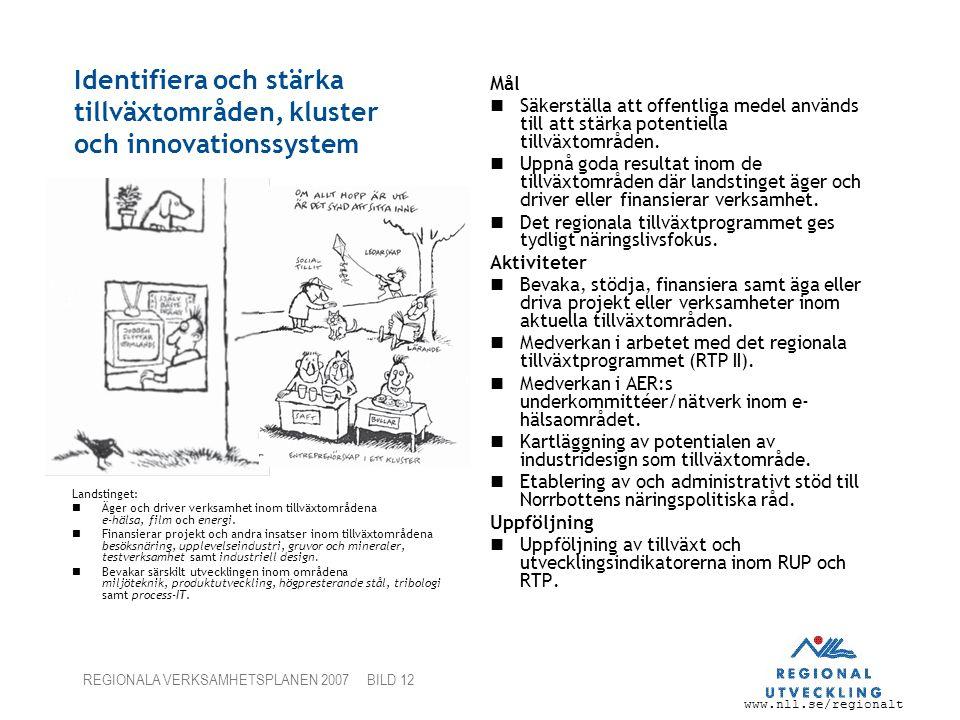 www.nll.se/regionalt REGIONALA VERKSAMHETSPLANEN 2007 BILD 12 Identifiera och stärka tillväxtområden, kluster och innovationssystem Mål Säkerställa att offentliga medel används till att stärka potentiella tillväxtområden.