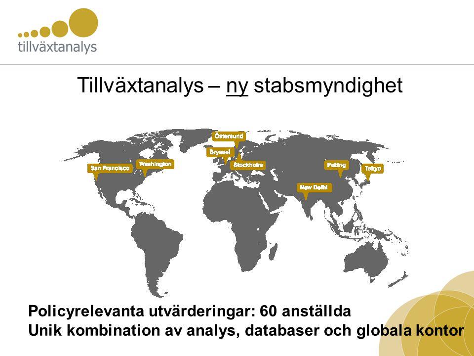 Tillväxtanalys – ny stabsmyndighet Policyrelevanta utvärderingar: 60 anställda Unik kombination av analys, databaser och globala kontor