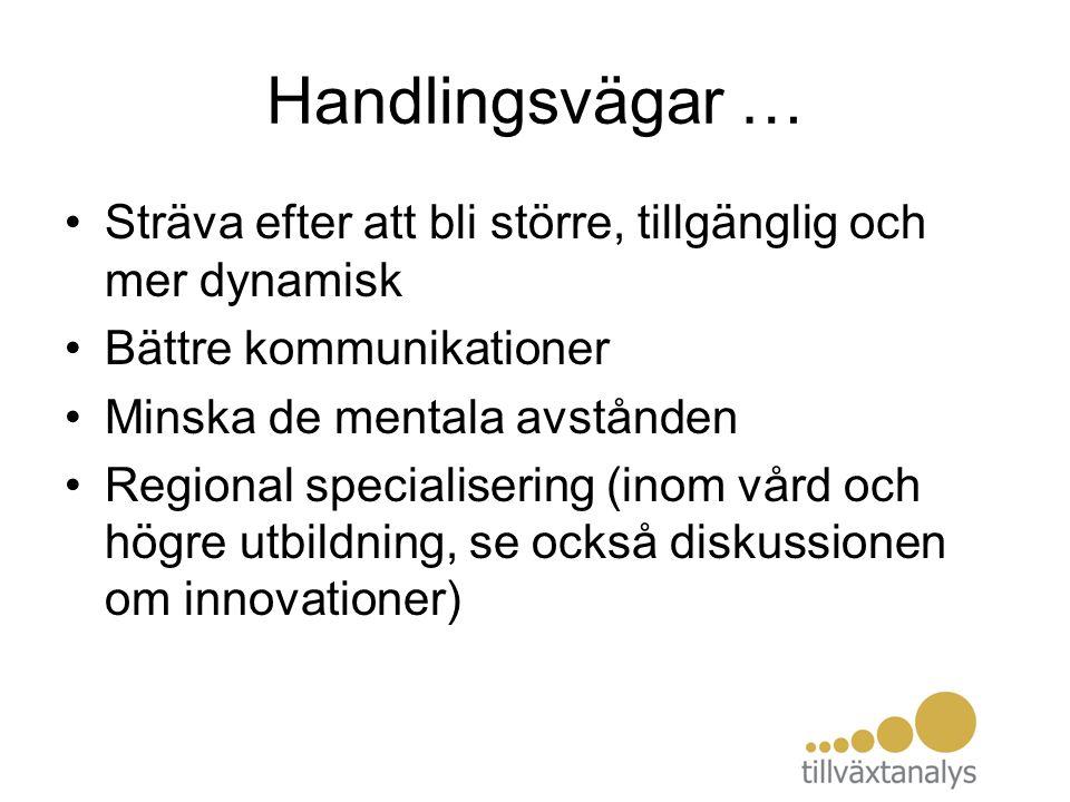 Handlingsvägar … Sträva efter att bli större, tillgänglig och mer dynamisk Bättre kommunikationer Minska de mentala avstånden Regional specialisering