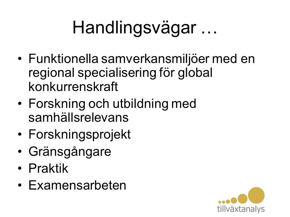 Handlingsvägar … Funktionella samverkansmiljöer med en regional specialisering för global konkurrenskraft Forskning och utbildning med samhällsrelevan