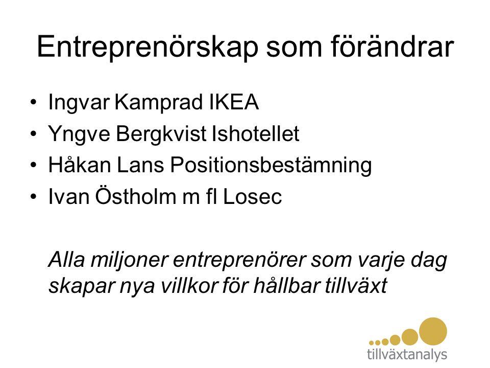 Entreprenörskap som förändrar Ingvar Kamprad IKEA Yngve Bergkvist Ishotellet Håkan Lans Positionsbestämning Ivan Östholm m fl Losec Alla miljoner entr