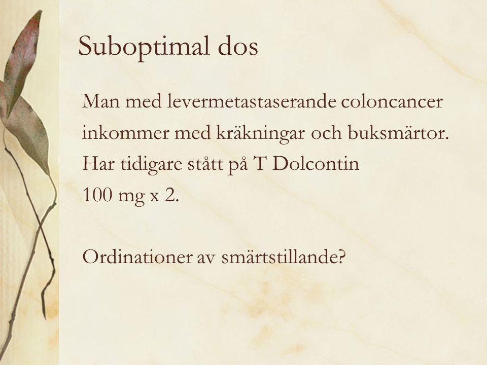 Suboptimal dos Man med levermetastaserande coloncancer inkommer med kräkningar och buksmärtor. Har tidigare stått på T Dolcontin 100 mg x 2. Ordinatio