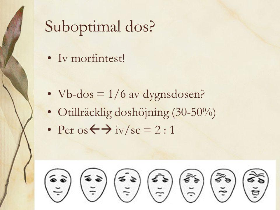Suboptimal dos? Iv morfintest! Vb-dos = 1/6 av dygnsdosen? Otillräcklig doshöjning (30-50%) Per os  iv/sc = 2 : 1