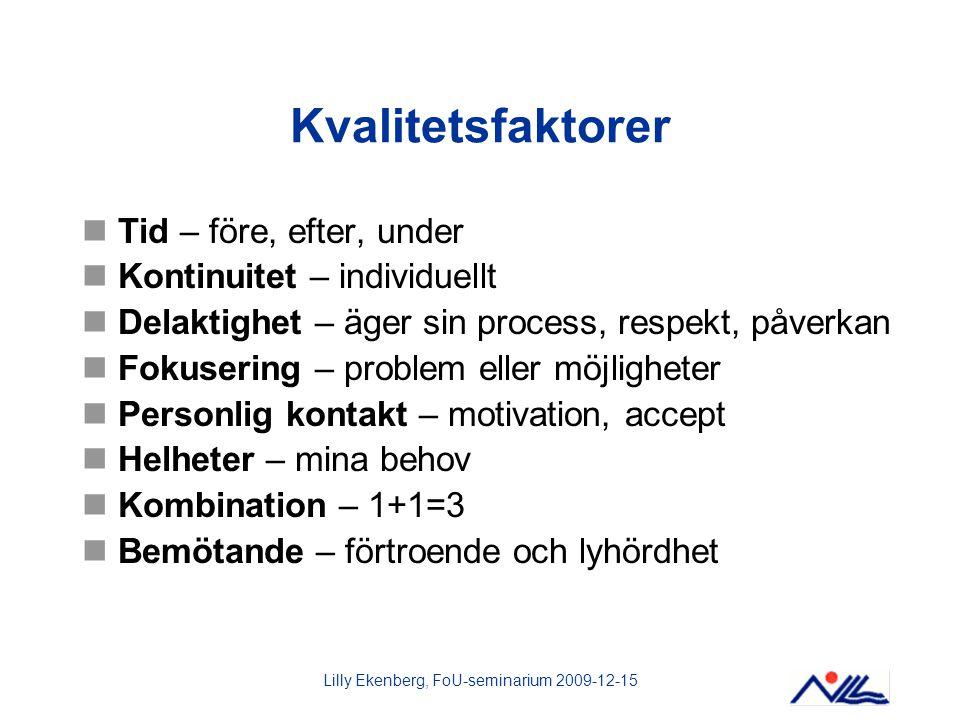 Lilly Ekenberg, FoU-seminarium 2009-12-15 Kvalitetsfaktorer Tid – före, efter, under Kontinuitet – individuellt Delaktighet – äger sin process, respek