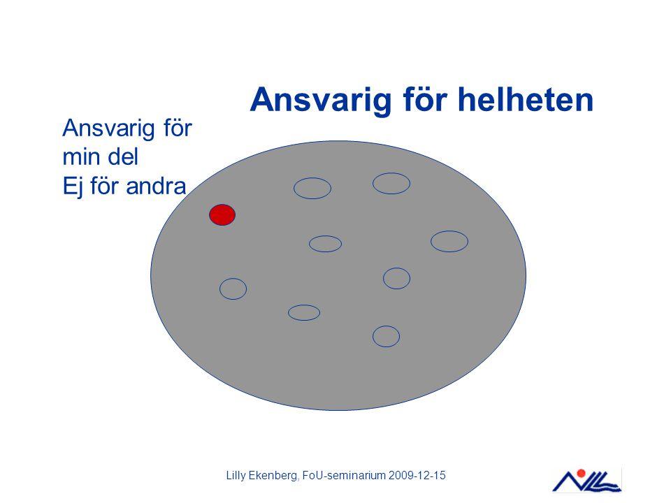 Lilly Ekenberg, FoU-seminarium 2009-12-15 Ansvarig för helheten Ansvarig för min del Ej för andra