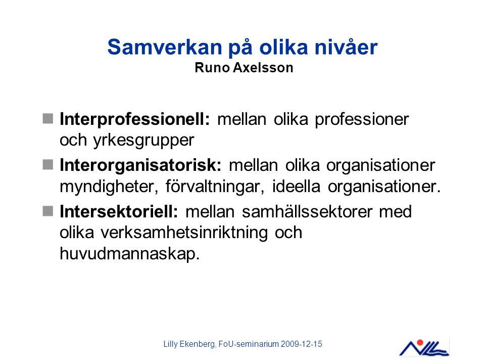 Lilly Ekenberg, FoU-seminarium 2009-12-15 Samverkan på olika nivåer Runo Axelsson Interprofessionell: mellan olika professioner och yrkesgrupper Inter