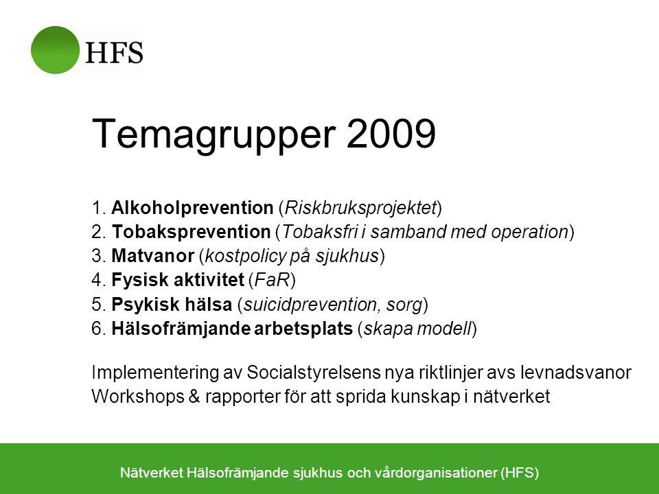 Temagrupper 2009 1. Alkoholprevention (Riskbruksprojektet) 2. Tobaksprevention (Tobaksfri i samband med operation) 3. Matvanor (kostpolicy på sjukhus)