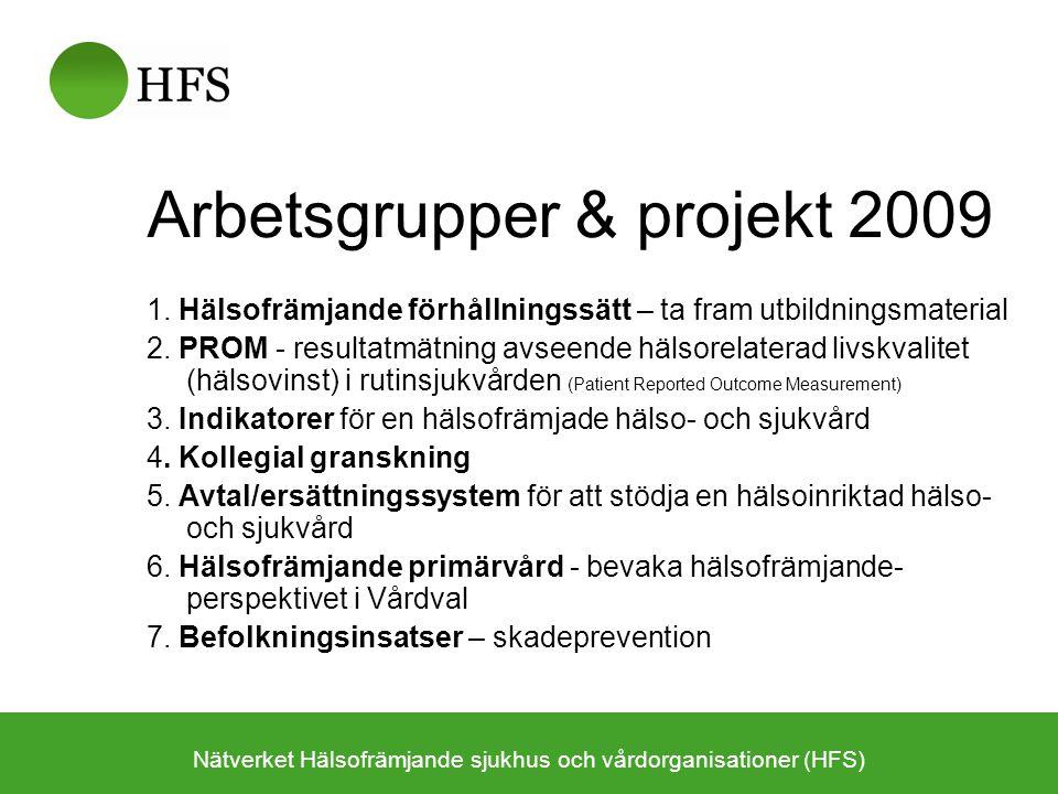 Arbetsgrupper & projekt 2009 1. Hälsofrämjande förhållningssätt – ta fram utbildningsmaterial 2. PROM - resultatmätning avseende hälsorelaterad livskv