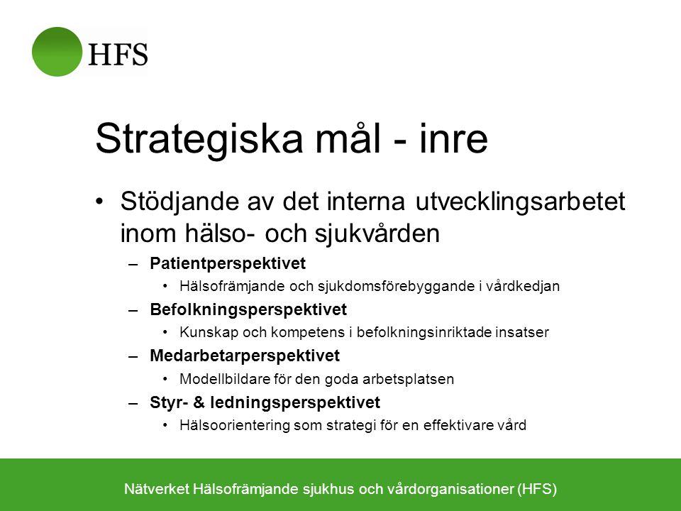 Strategiska mål - inre Stödjande av det interna utvecklingsarbetet inom hälso- och sjukvården –Patientperspektivet Hälsofrämjande och sjukdomsförebygg