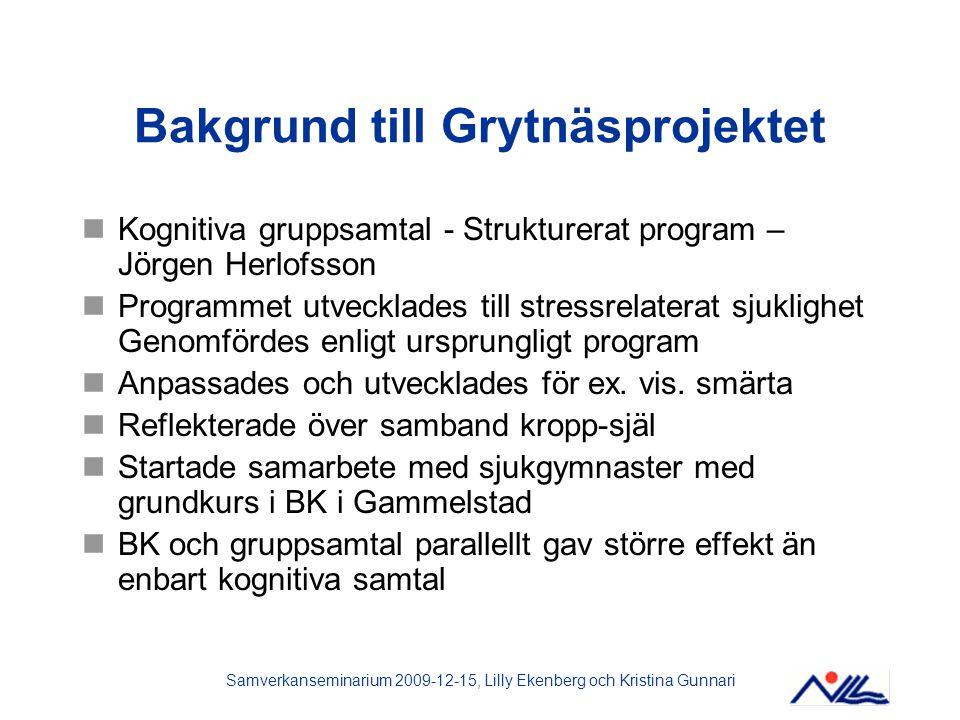 Samverkanseminarium 2009-12-15, Lilly Ekenberg och Kristina Gunnari Bakgrund till Grytnäsprojektet Kognitiva gruppsamtal - Strukturerat program – Jörg