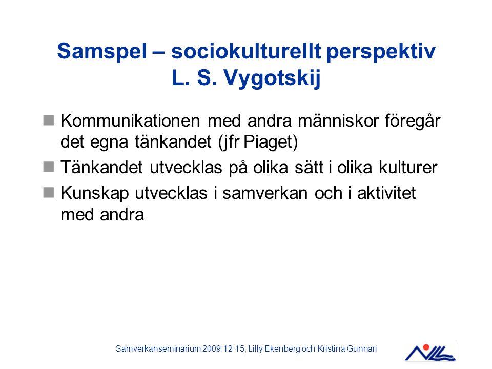 Samverkanseminarium 2009-12-15, Lilly Ekenberg och Kristina Gunnari Samspel – sociokulturellt perspektiv L. S. Vygotskij Kommunikationen med andra män