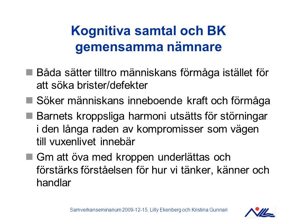Samverkanseminarium 2009-12-15, Lilly Ekenberg och Kristina Gunnari Kognitiva samtal och BK gemensamma nämnare Båda sätter tilltro människans förmåga