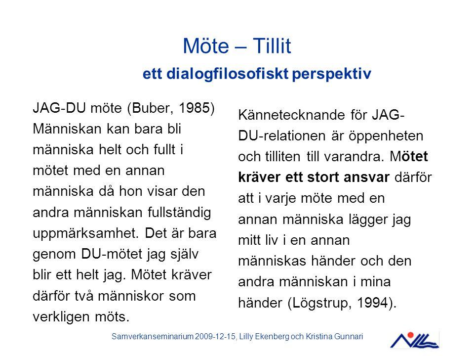 Samverkanseminarium 2009-12-15, Lilly Ekenberg och Kristina Gunnari Möte – Tillit ett dialogfilosofiskt perspektiv JAG-DU möte (Buber, 1985) Människan