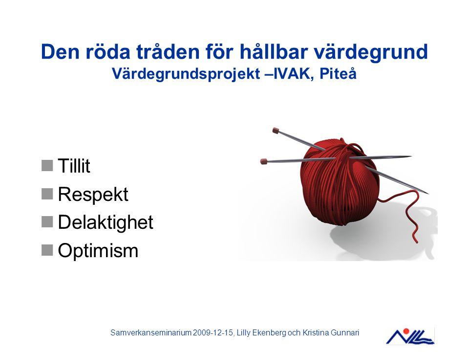 Samverkanseminarium 2009-12-15, Lilly Ekenberg och Kristina Gunnari Synen på förutsättningar för en hållbar värdegrund Ledningsstöd Tid Speciell roll Vilja Orka Våga