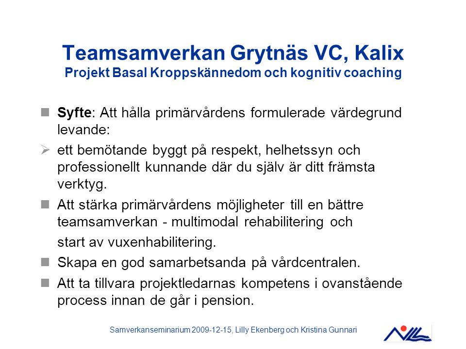 Samverkanseminarium 2009-12-15, Lilly Ekenberg och Kristina Gunnari Teamsamverkan Grytnäs VC, Kalix Projekt Basal Kroppskännedom och kognitiv coaching