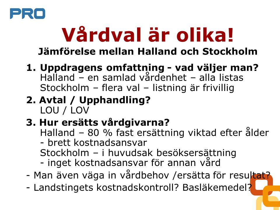 Vårdval är olika. Jämförelse mellan Halland och Stockholm 1.Uppdragens omfattning - vad väljer man.