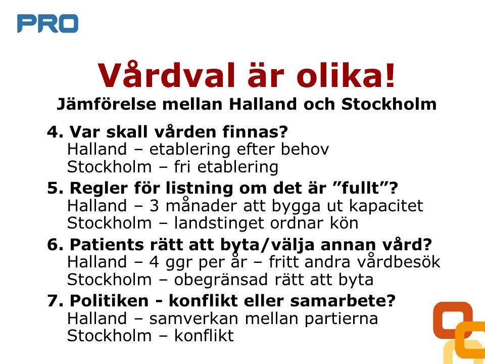 Vårdval är olika. Jämförelse mellan Halland och Stockholm 4.