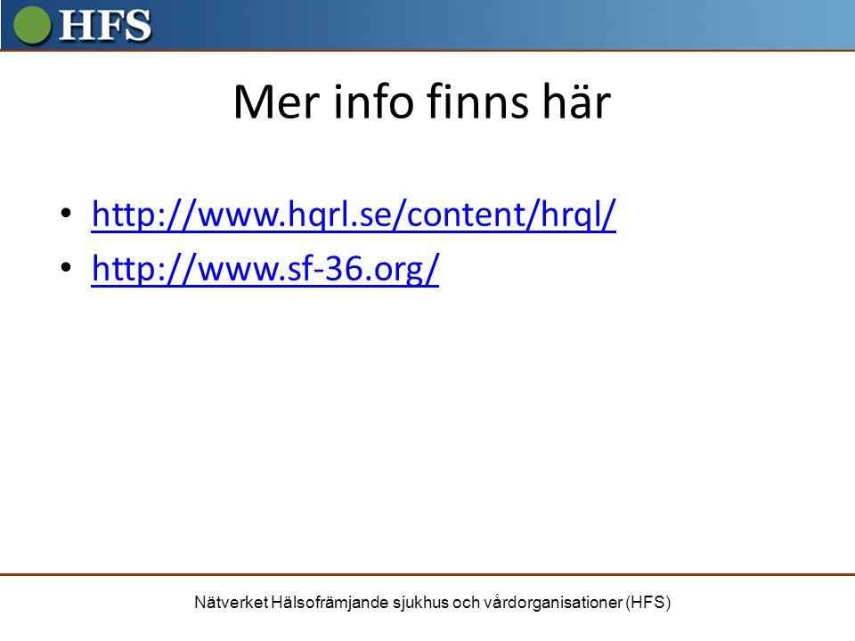 Nätverket Hälsofrämjande sjukhus och vårdorganisationer (HFS) Mer info finns här http://www.hqrl.se/content/hrql/ http://www.sf-36.org/