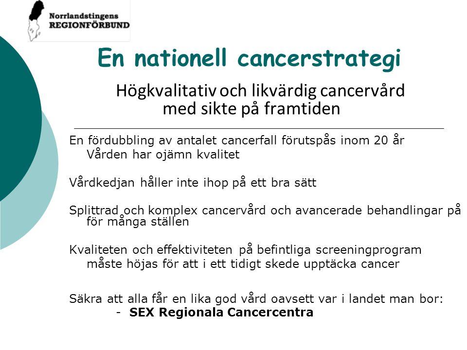 En nationell cancerstrategi Högkvalitativ och likvärdig cancervård med sikte på framtiden En fördubbling av antalet cancerfall förutspås inom 20 år Vå