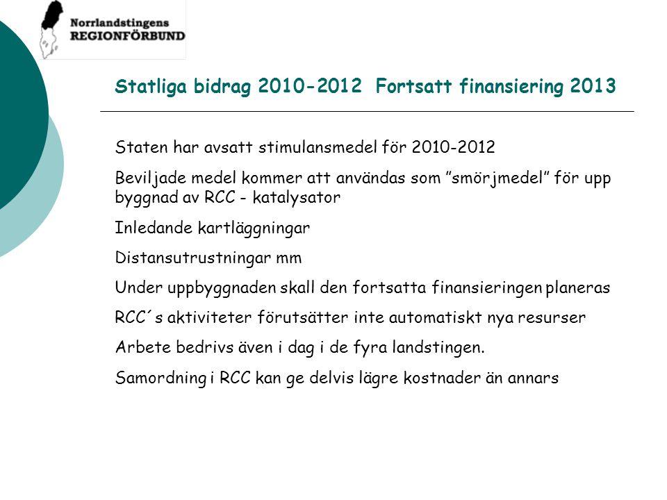 """Statliga bidrag 2010-2012 Fortsatt finansiering 2013 Staten har avsatt stimulansmedel för 2010-2012 Beviljade medel kommer att användas som """"smörjmede"""