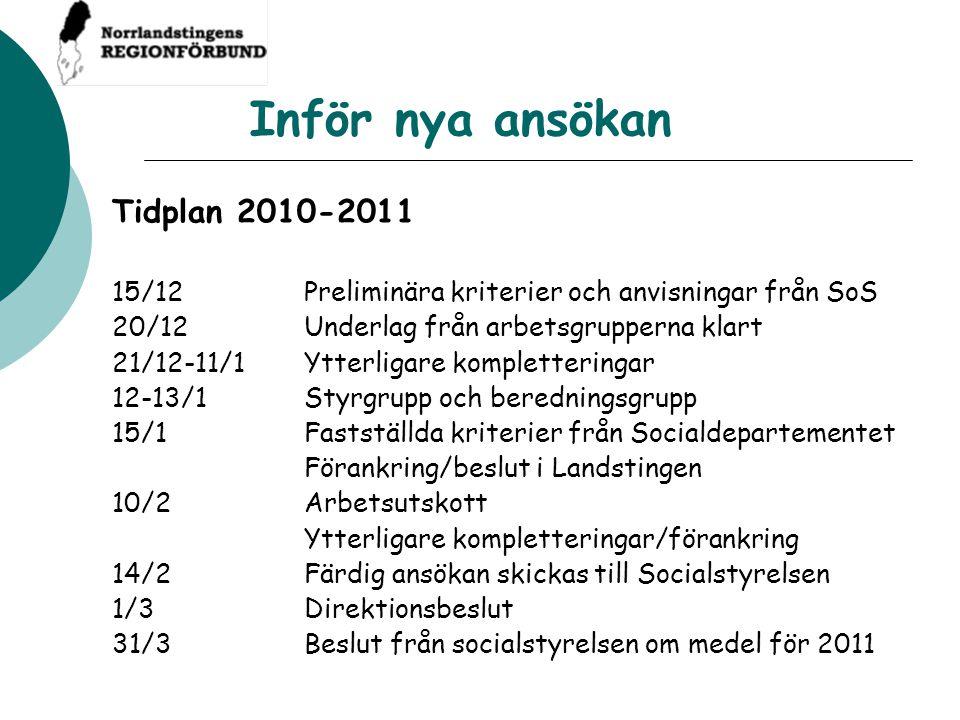 Inför nya ansökan Tidplan 2010-2011 15/12Preliminära kriterier och anvisningar från SoS 20/12 Underlag från arbetsgrupperna klart 21/12-11/1 Ytterliga