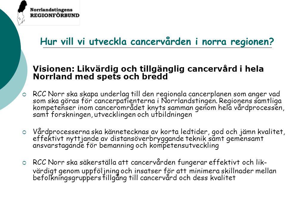 Hur vill vi utveckla cancervården i norra regionen? Visionen: Likvärdig och tillgänglig cancervård i hela Norrland med spets och bredd  RCC Norr ska