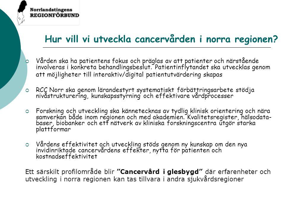 Ledning RCC är en matrisorganisation till stöd för landstingen att nå visionen om En likvärdig cancervård med spets och bredd oBeslutsnivåDirektionen/arbetsutskottet för Norrlandstingens regionförbund oBesluts-/ BeredningsnivåLedningsgruppen för RCC Referensgrupp patienter/närstående Regionalt cancerråd Vårdprogramgrupper Folkhälsogruppen Palliativa gruppen Kliniska forskningsgruppen (KBN) oViktiga frågor för beslut Regional utvecklingsplan för cancer, nivåstrukturering, vårdprogram