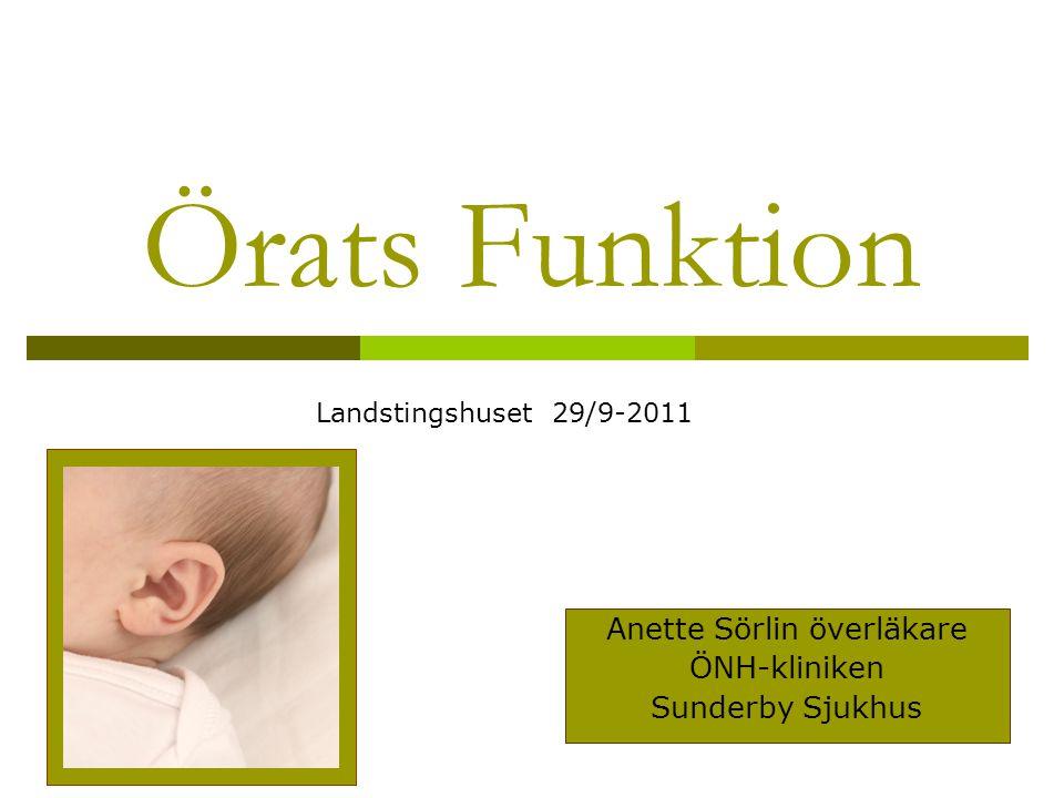 Örats Funktion Anette Sörlin överläkare ÖNH-kliniken Sunderby Sjukhus Landstingshuset 29/9-2011