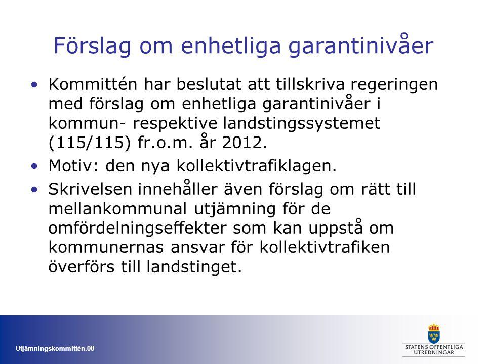 Utjämningskommittén.08 Förslag om enhetliga garantinivåer Kommittén har beslutat att tillskriva regeringen med förslag om enhetliga garantinivåer i ko