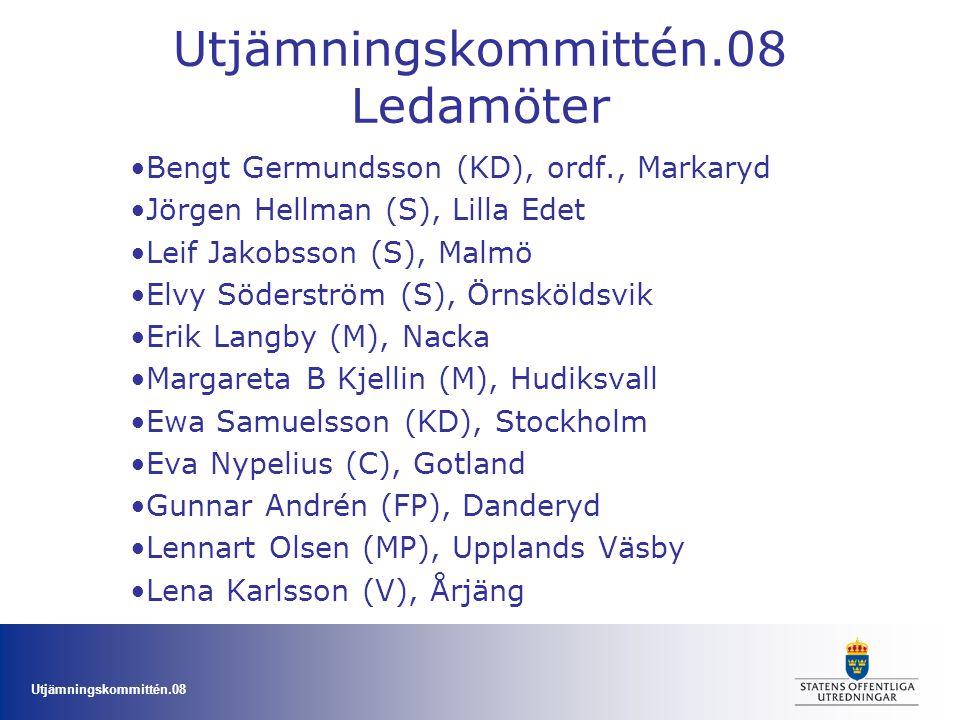 Utjämningskommittén.08 Ledamöter Bengt Germundsson (KD), ordf., Markaryd Jörgen Hellman (S), Lilla Edet Leif Jakobsson (S), Malmö Elvy Söderström (S),