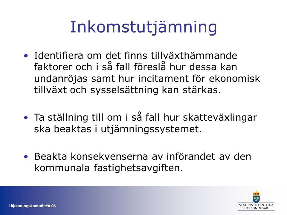 Utjämningskommittén.08 Kostnadsutjämning Se över möjligheterna och vid behov lämna förslag i syfte att förenkla kostnadsutjämningen och öka stabiliteten.
