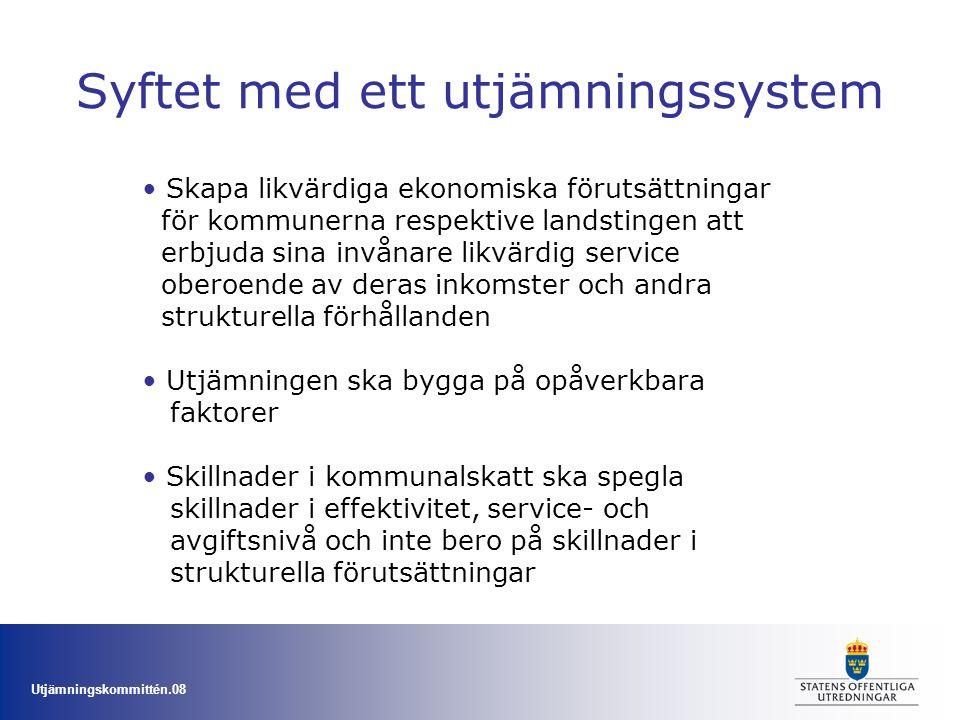 Utjämningskommittén.08 Syftet med ett utjämningssystem Skapa likvärdiga ekonomiska förutsättningar för kommunerna respektive landstingen att erbjuda s