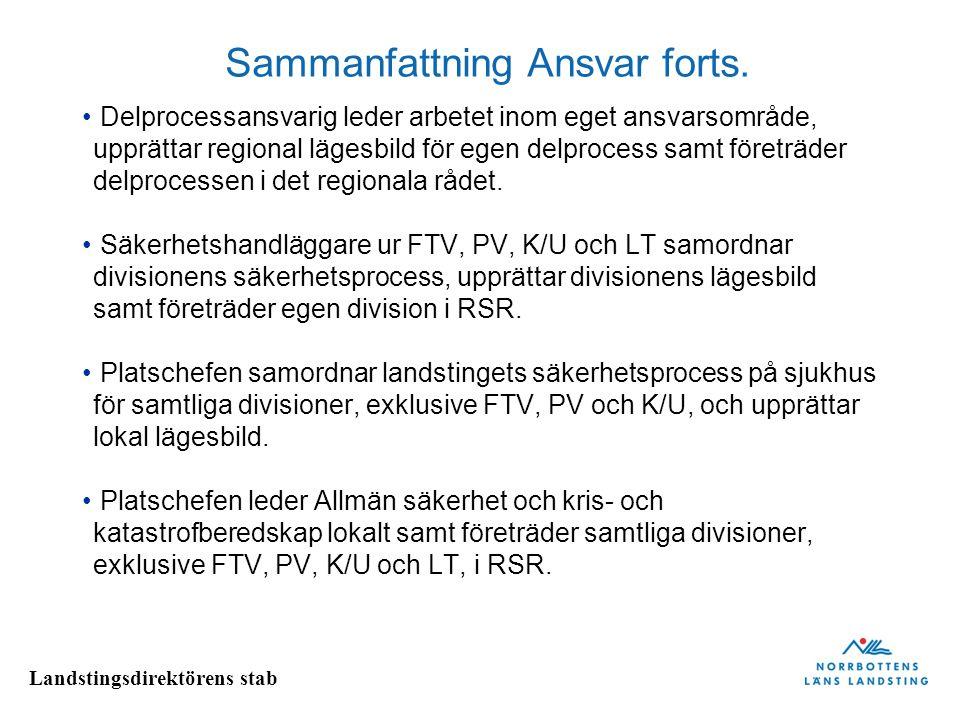 Landstingsdirektörens stab Sammanfattning Ansvar forts.
