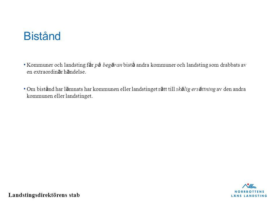 Landstingsdirektörens stab Bistånd Kommuner och landsting f å r p å beg ä ran bist å andra kommuner och landsting som drabbats av en extraordin ä r h ä ndelse.
