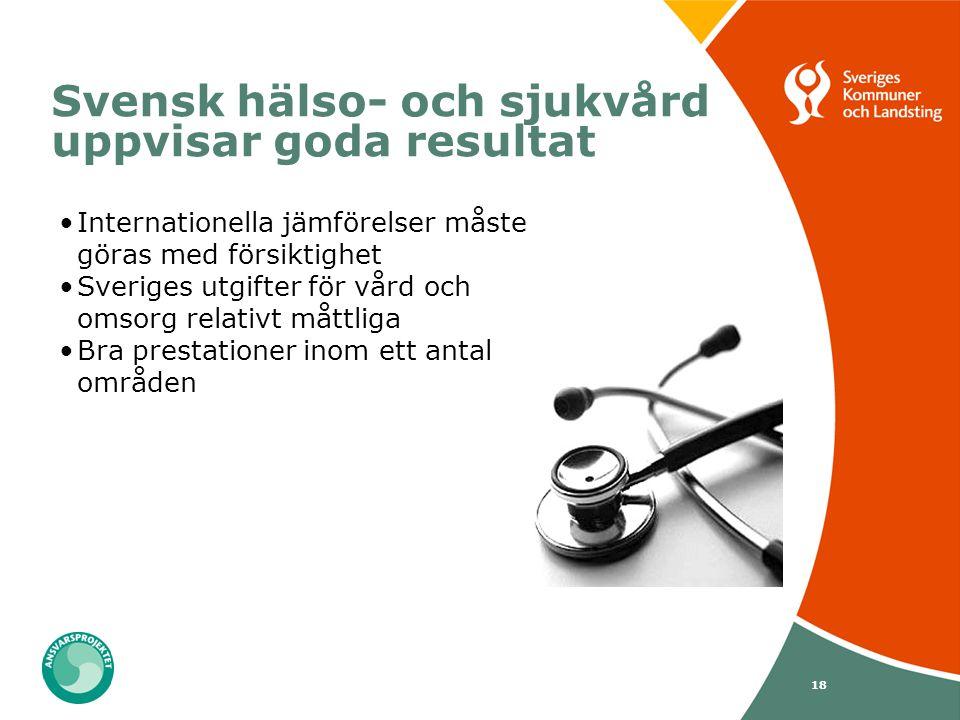 18 Svensk hälso- och sjukvård uppvisar goda resultat Internationella jämförelser måste göras med försiktighet Sveriges utgifter för vård och omsorg re