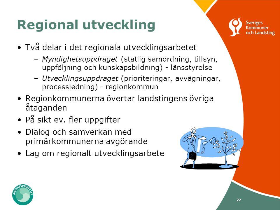 22 Regional utveckling Två delar i det regionala utvecklingsarbetet –Myndighetsuppdraget (statlig samordning, tillsyn, uppföljning och kunskapsbildnin