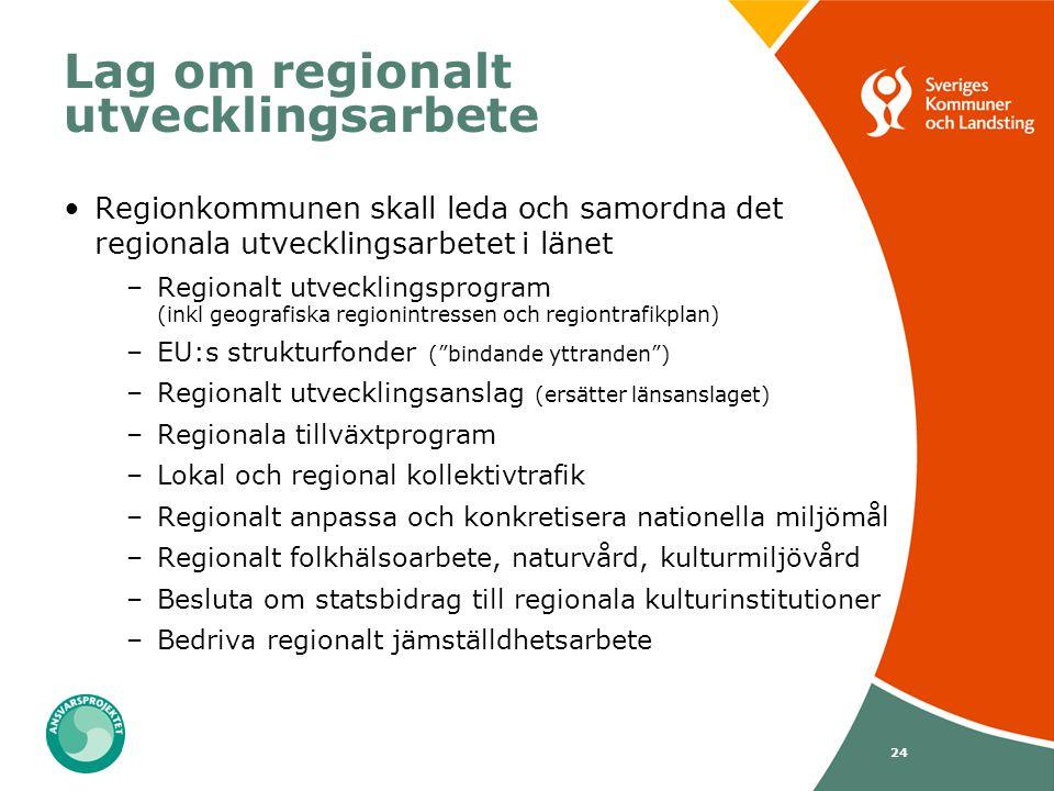 24 Lag om regionalt utvecklingsarbete Regionkommunen skall leda och samordna det regionala utvecklingsarbetet i länet –Regionalt utvecklingsprogram (i