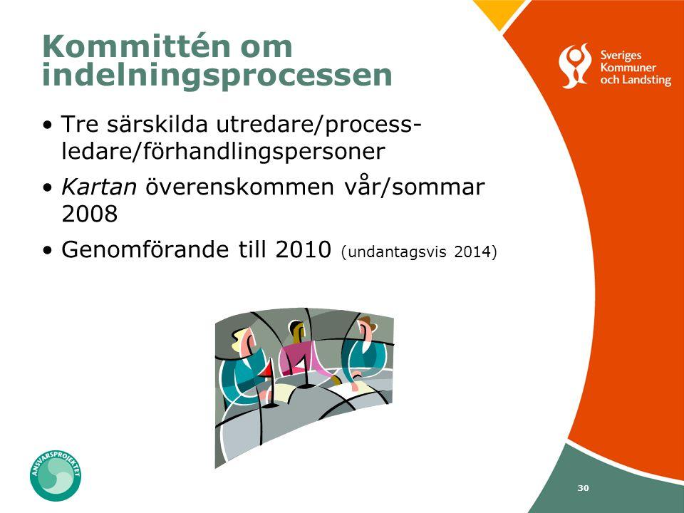 30 Kommittén om indelningsprocessen Tre särskilda utredare/process- ledare/förhandlingspersoner Kartan överenskommen vår/sommar 2008 Genomförande till
